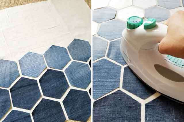 DIY: make hexagon pillow cover with old jeans