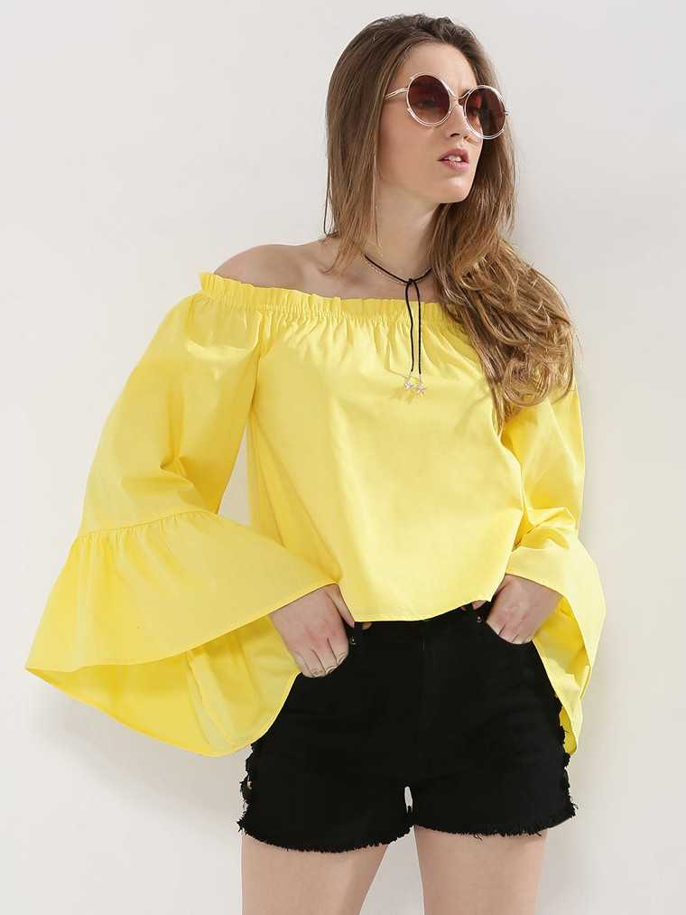 Yellow Off shoulder dress