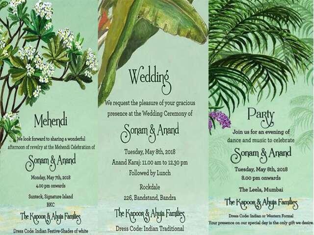 sonam wedding card