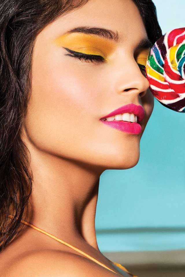 Do face and nail makeup with these candy shades