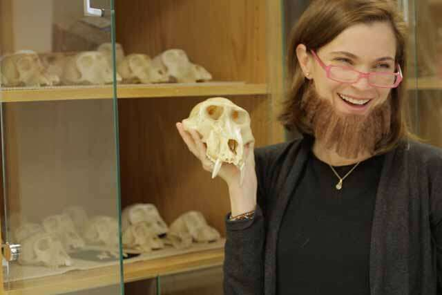why US scientist women wearing beards and mustaches?