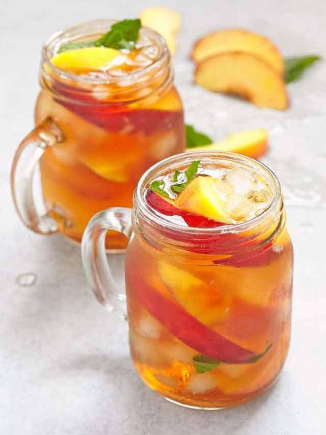 Try iced peach mint green tea