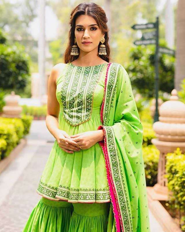 Try green colour outfits for this rainy season