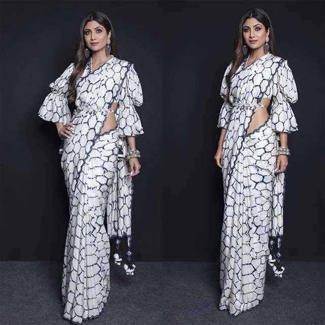 Try new saree style like Shilpa Shetty