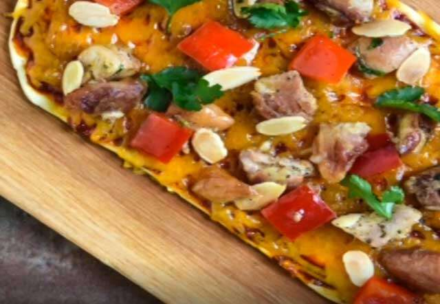 Almond chicken flatbread