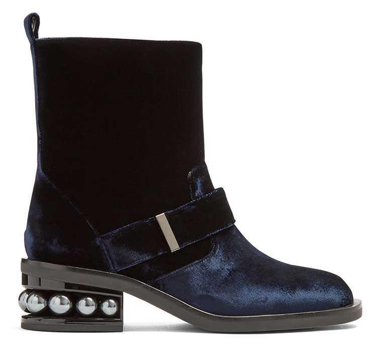 Embellished velvet boots