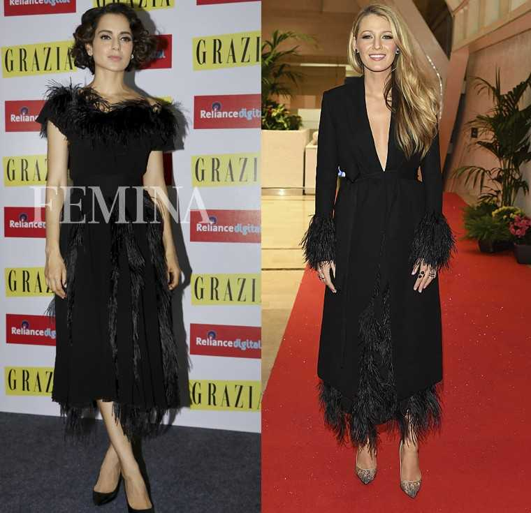 At a recent event, Kangana Ranaut made an appearance in a Salvatore Ferragamo feather midi dress. A few months ago at the Cannes film festival, mum-to-be, Blake Lively was seen in a similar Ferragamo dress. THE VERDICT: Blake Lively stole the show here wi