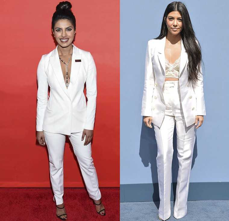 Priyanka Chopra celebrated her inclusion in Time magazine's 100 Most Influential list at the Time Gala in a white pantsuit by Danish label ST. studio by Olcay Gulsen. Kourtney Kardashian also chose a white pantsuit by Sergio Hudson for her appearance at