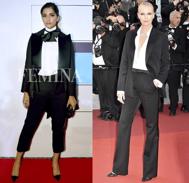 Fashion chameleon Sonam Kapoor gave us a relaxed take on tuxedo dressing wearing Parisian label Dice Kayek. On the Cannes red carpet, Charlize Theron also turned up the heat in her sleek Dior tuxedo suit. THE VERDICT: Charlize Theron for making the androg