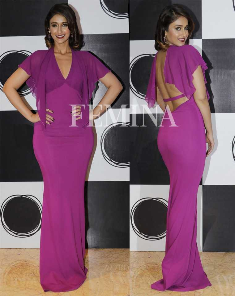Ileana D'Cruz revealed her sexy side in a Roberto Cavalli number with a barely there back. Retro curls and a swipe of oxblood lippie added the finishing touches.