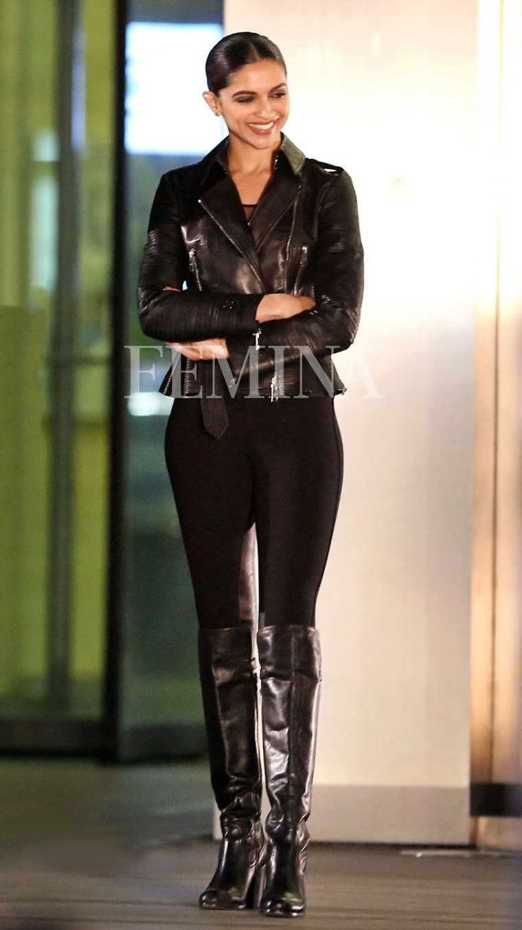 Deepika was pictured on the sets of her upcoming film XXX: Return Of Xander Cage in a Burberry biker jacket, leggings and knee-high boots.