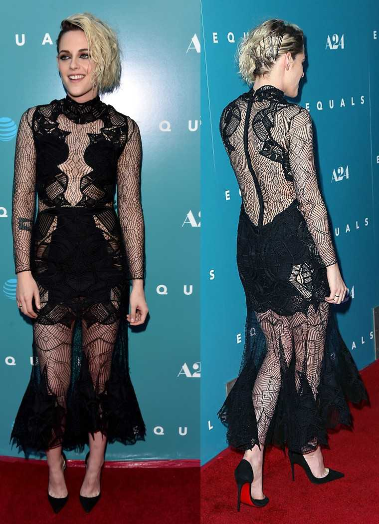 Kristen Stewart gave a punk twist to the sheer dress trend in a lacy Jonathan Simkhai number that showed off her back to perfection.