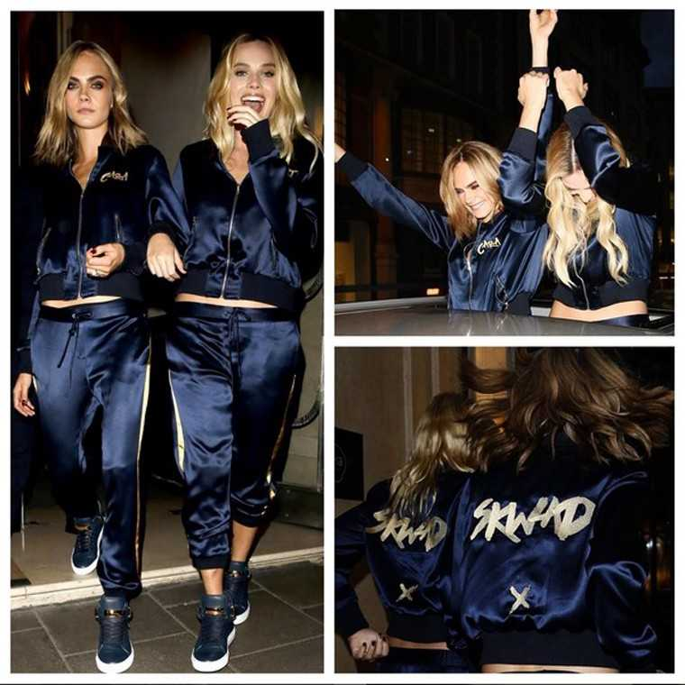 Suicide Squad girls Margot Robbie and Cara Delevingne twinned at the movie premiere after party in matching satin tracksuits by Chaos.