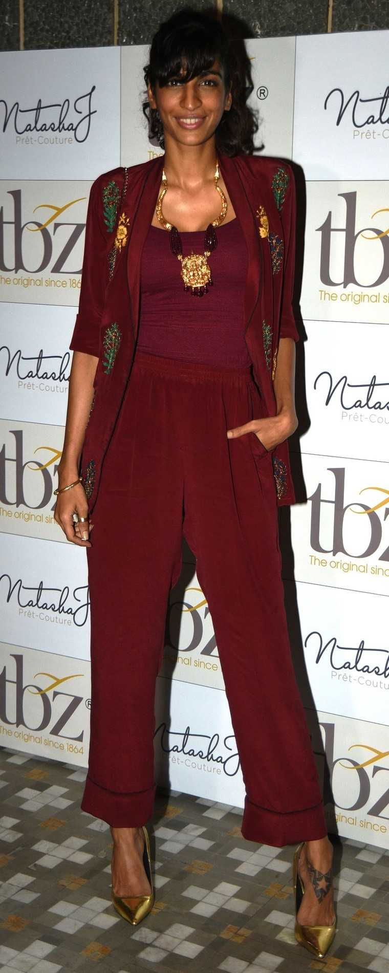 For her appearance at a recent event, Anushka Manchanda opted for easy Marsala separates by Natasha J with a statement necklace from TBZ.