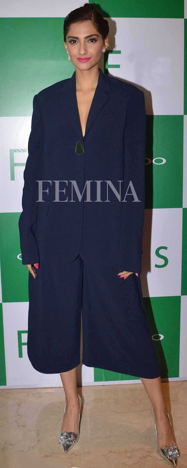 Sonam Kapoor The always experimental Sonam opted for suit-style Roksanda separates with Sophia Webster pumps. Extra points for her cool braided up-do.