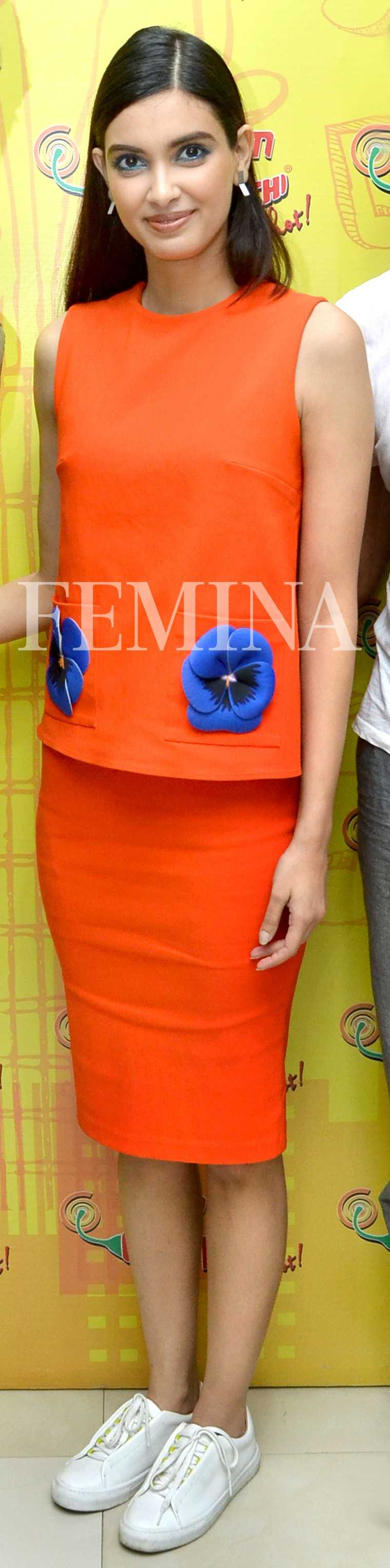 Diana Penty in Gauri and Nainika:  Diana went for a dressed down look with her bright co-ords by the designer duo.