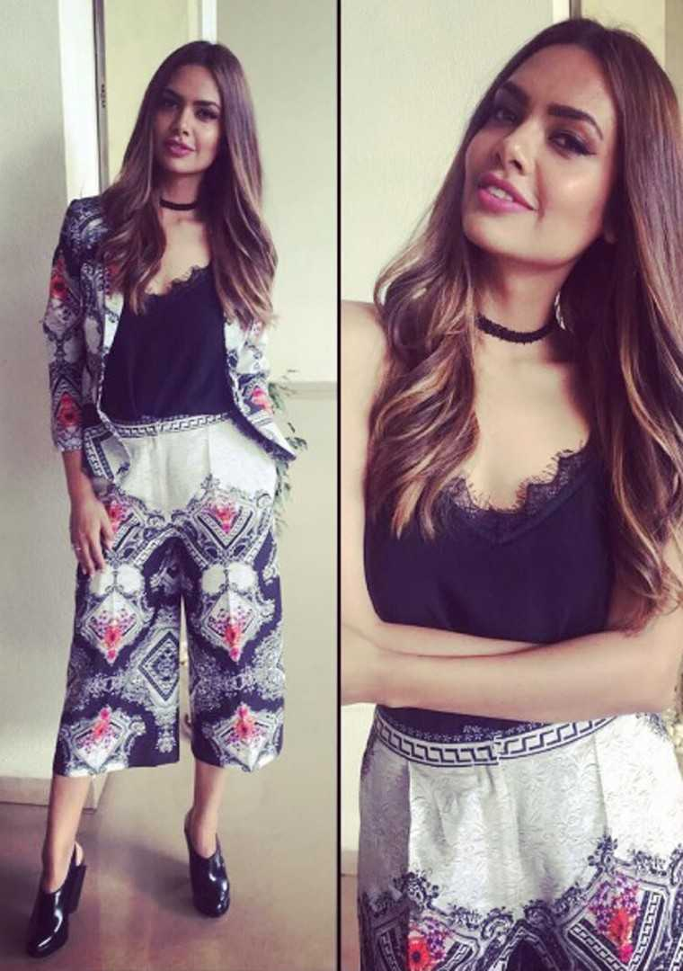 Esha Gupta Esha was recently seen in a printed set by the label Kalista that she wore over a black lacy top and choker.