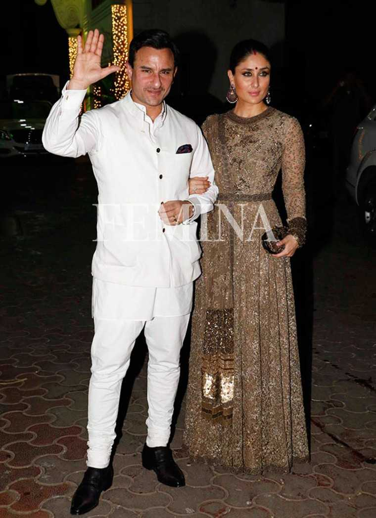 Kareena Kapoor Khan & Saif Ali Khan: For a diwali bash, Kareena Kapoor Khan skipped her regular designer Manish Malhotra and instead picked this Sabyasachi sequinned outfit. Her Nawab hubby copied her royal look with an all-white bandhgala.