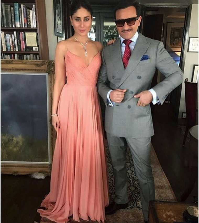 Kareena & Saif: The couple looked like old-school royalty, Kareena in a peachy Swapnil Shinde gown with Gehna jewellery and Saif Ali Khan in a dapper, double-breasted suit.