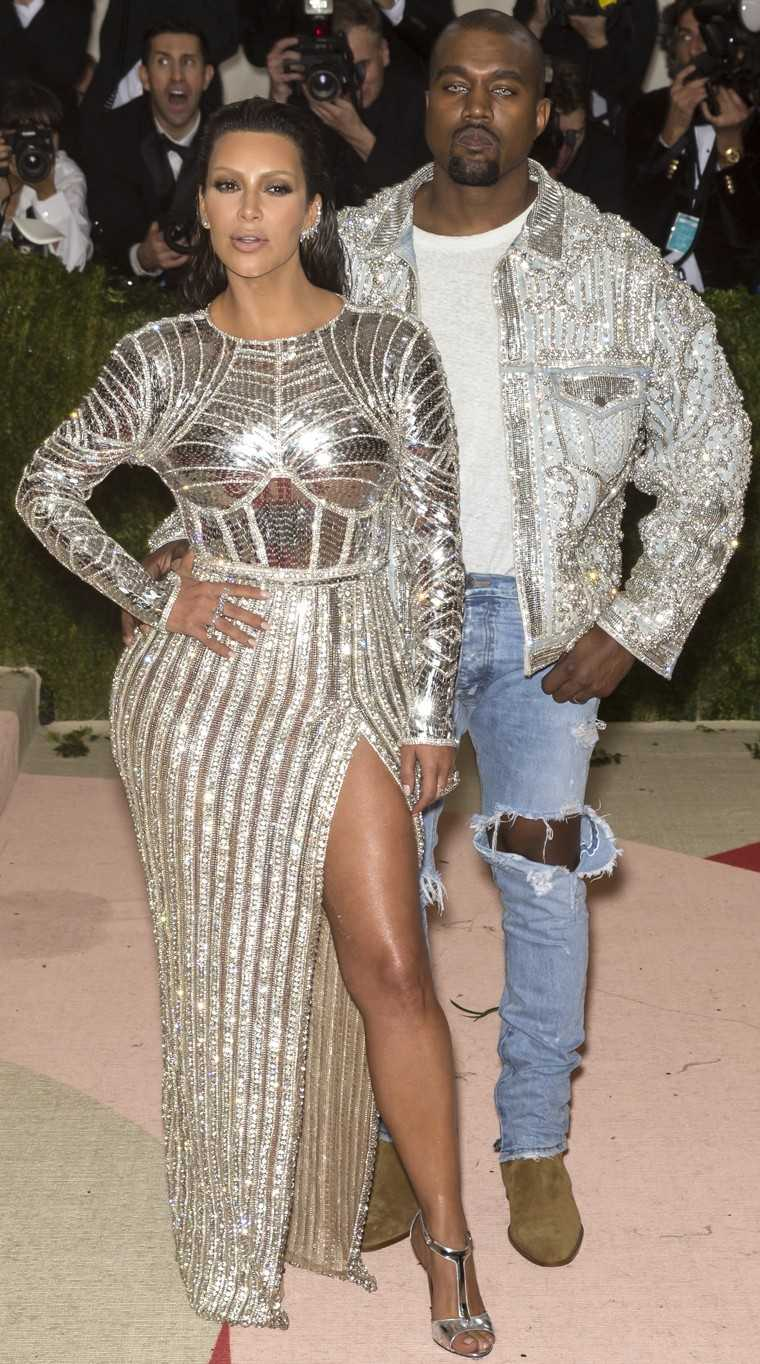 Kim Kardashian West and Kanye West: At the Met Gala 2016, Kimye dazzled the paparazzi in their matchy-matchy metallic silver looks. Mrs. West picked body-hugging Balmain and Lorraine Schwartz jewellery while Mr. West played in casual in a Balmain jacket a