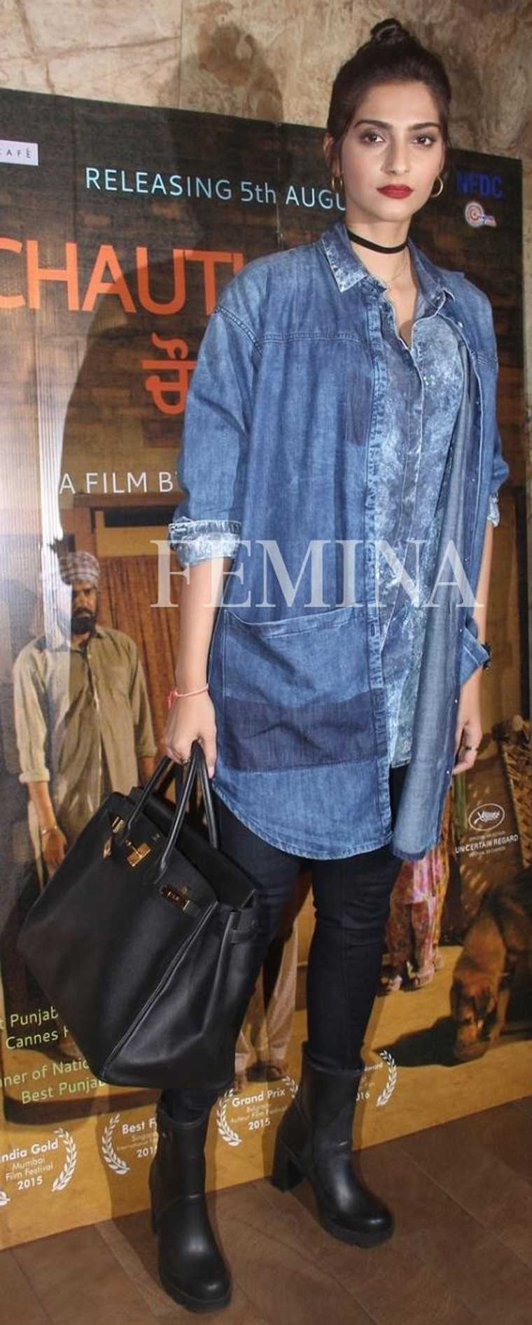 Sonam Kapoor in Bhane:  Sonam decided to go back to the '90s with a cool denim-on-denim look accessorised with a choker.