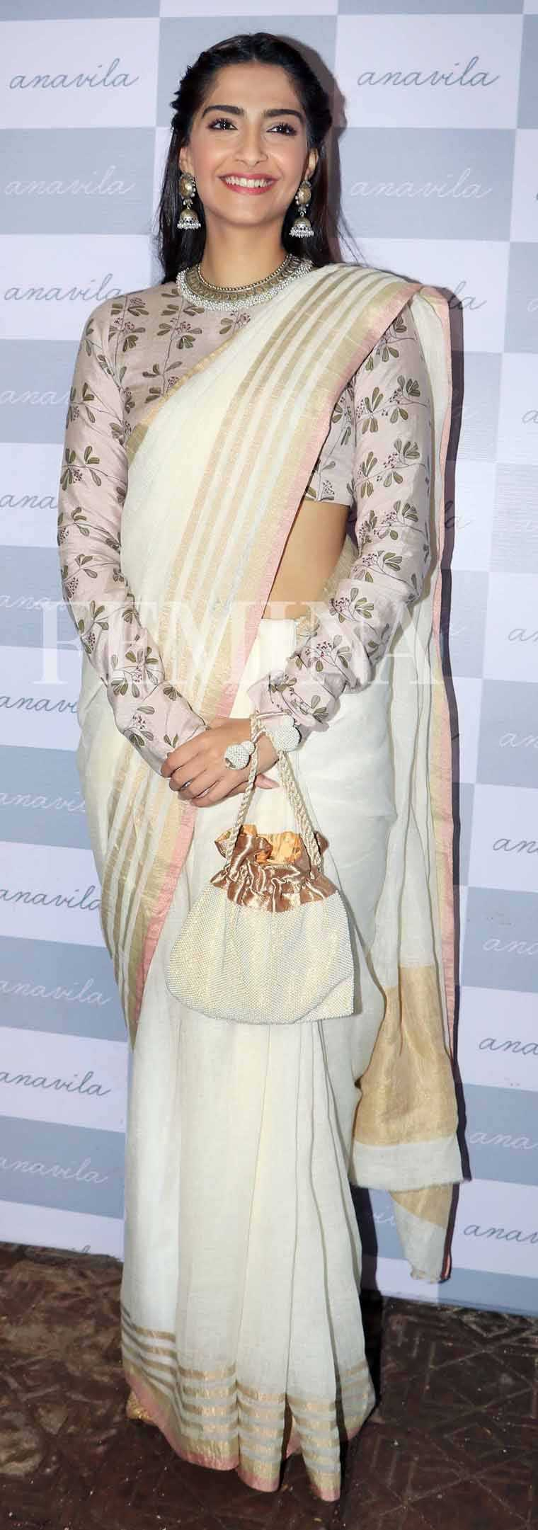 SONAM KAPOOR The Neerja star proved that a retro-style full-sleeved blouse can be just as adorable now as it was when your grandmother wore it with this Anavila number.