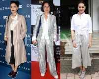 Hot pairing: Metallics and white shirts