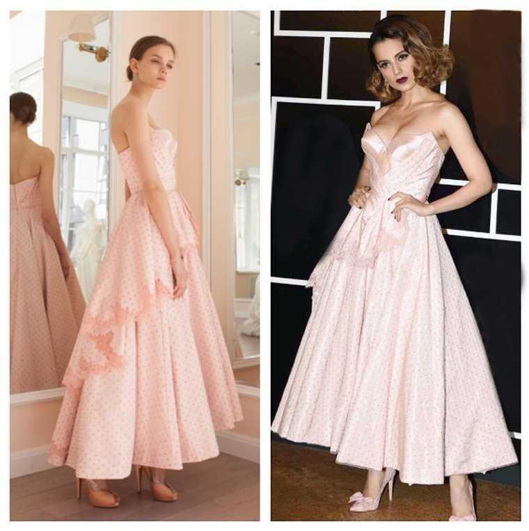 Kangana Ranaut blush pink Ulyana Sergeenko dress
