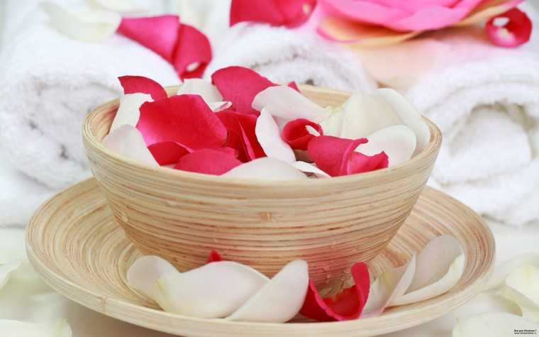 rose petals and milk
