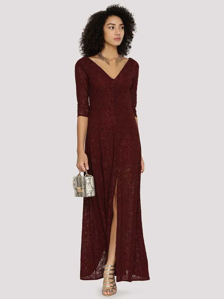 lace dress in a deep hue