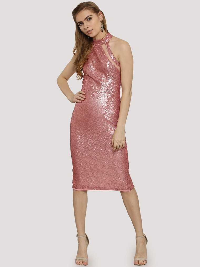 bubblegum pink halter dress with sequins