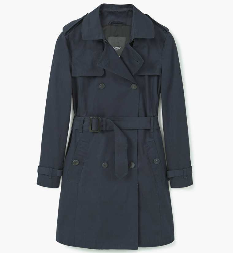 blue trench coat Mango