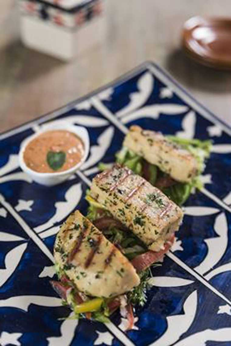 Herbed paneer with tandoori dip
