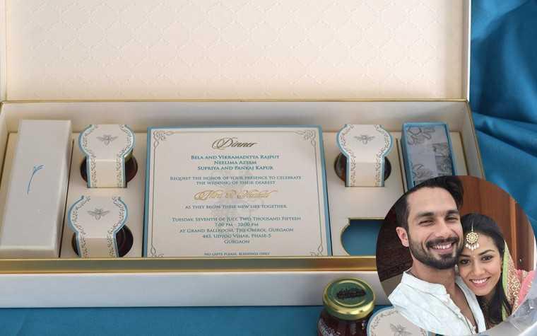 Shahid Kapoor Mira rajput wedding card