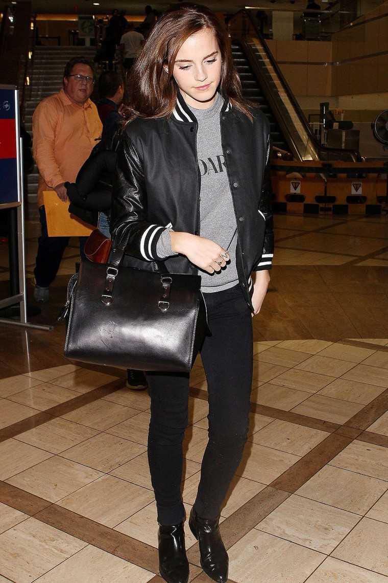 Emma Watson sporty retro bomber