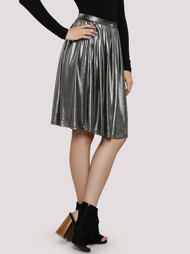 Pleated-metallic-skirt-ridress-koovs