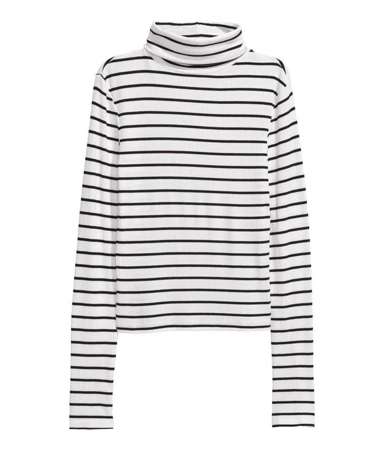 Rollneck-top-striped-H&M