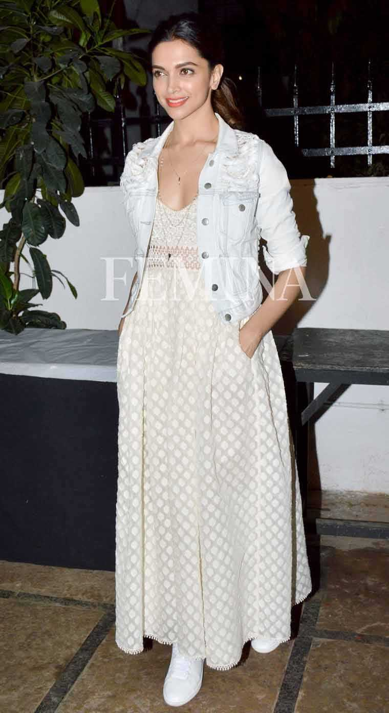 DEEPIKA PADUKONE A frayed white version pairs well with an Indian-inspired dress from Payal Jain. Crisp white sneakers complete her dressed-down look.