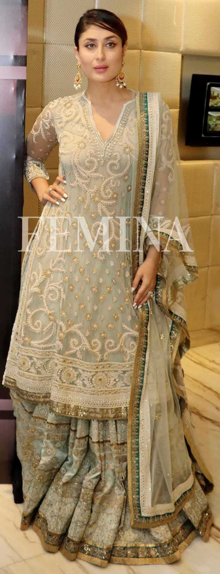 Kareena Kapoor Khan: Cool mint  Bebo looks ethereal in her embellished Tarun Tahiliani ensemble.