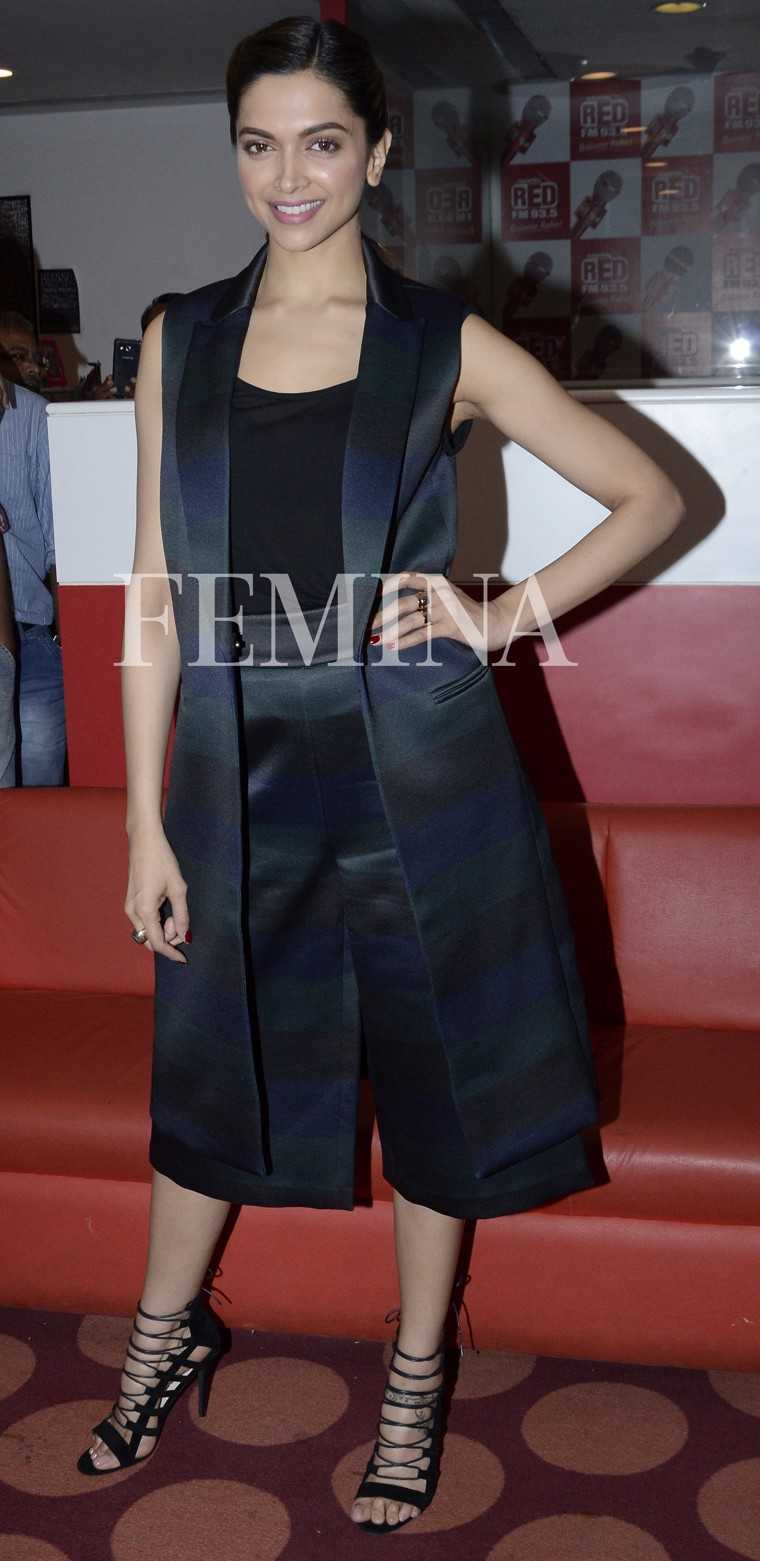 The oh-so-stylish Deepika Padukone was recently spotted promoting her movie is an Asos long line vest and culottes with a black tank top from The Row. She completed her look with strappy sandals from Asos.