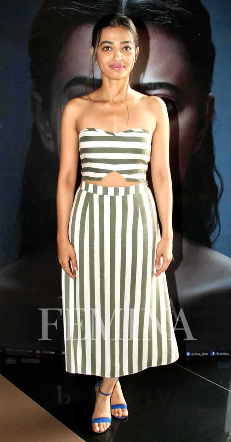 Radhika Apte in Deme by Gabriella  Radhika opts for a fresh crop top and skirt look from Deme by Gabriella. She adds a pop of colour with a pair of electric blue strappy sandals.