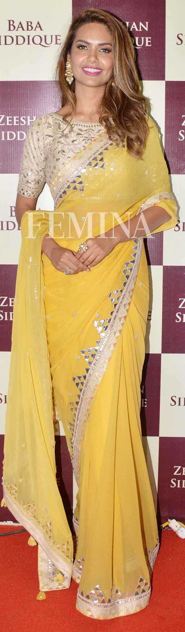 Esha Gupta: Mango Esha chose a happy yellow sari by Anita Dongre and matched it with jewellery from the designer's Pink City collection.