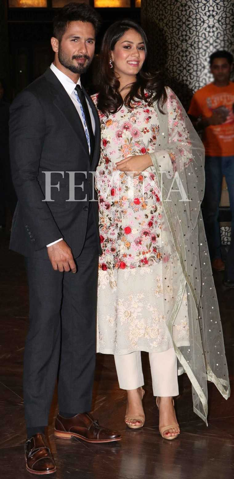 Mira Rajpur: Multicoloured  A pregnant Mira Rajput makes for an elegant picture in her floral Varun Bahl outfit and a wispy net dupatta.