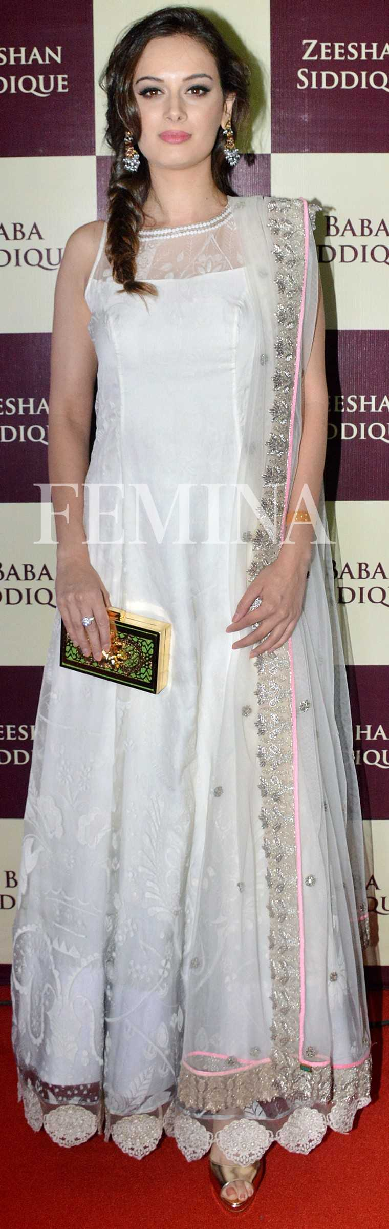 Evelyn Sharma Evelyn looks flawless in her Amoha anarkali. Minawala jewellery, a Garéma clutch and a messy fishtail braid completed her look.