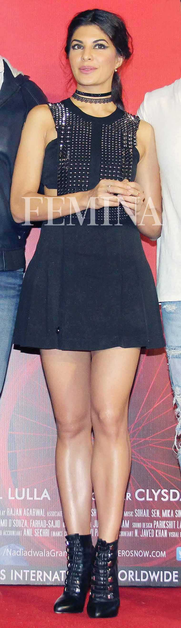 JACQUELINE FERNANDEZ For Housefull promotions, the actor went for an all-black, almost punk look with her studded Phillip Plein mini dress, ankle-strap Christian Louboutin booties and a pair of chokers from Instrinsic.