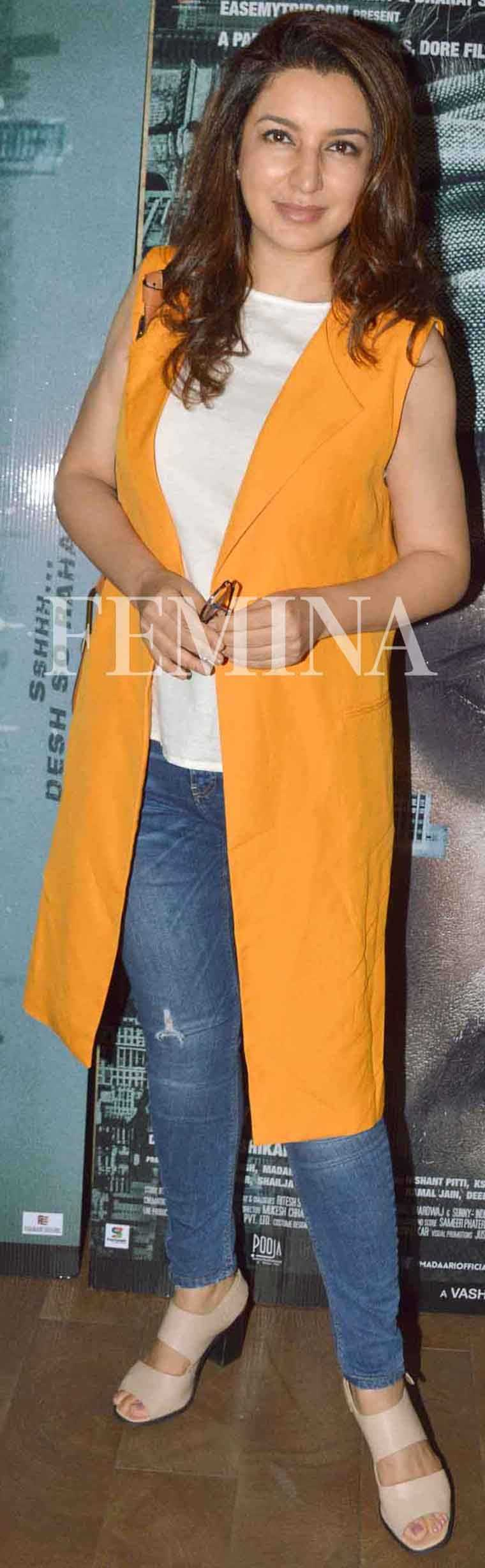 Tisca Chopra brightened up her basic tee and blue denims with a zingy tangerine vest from Zara. Her Chloe Hudson bag was like a cherry on the cake.