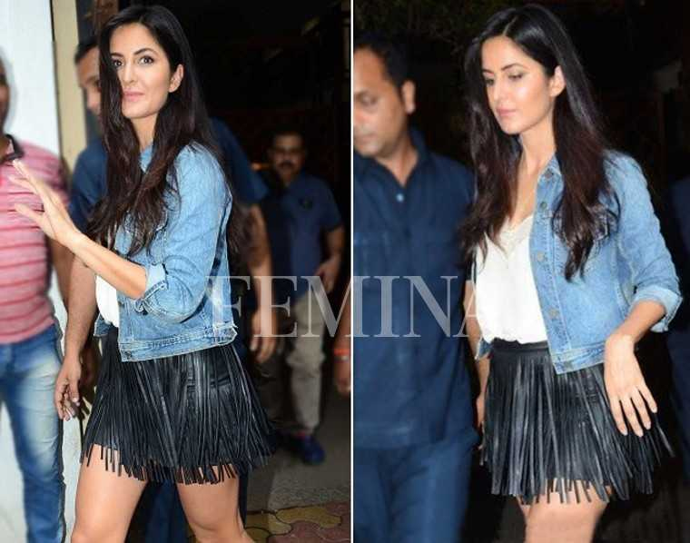 Katrina Kaif is all legs in a fringed skirt and denim jacket from All Saints. What a stellar comeback!