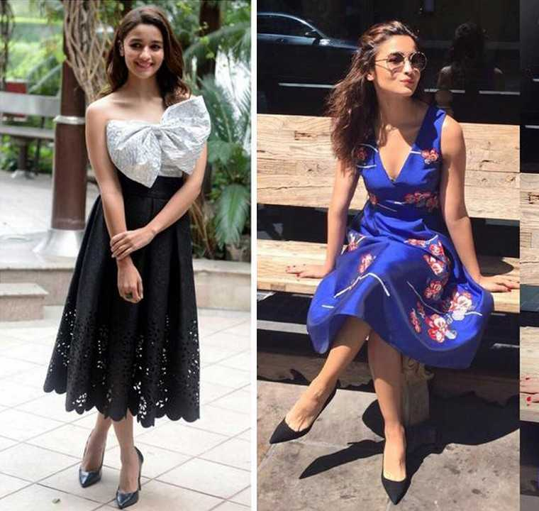 MIDI: Alia rocks the midi length twice over–in a lustrous Sachin and Babi frock and a strapless Bambah Boutique tea dress. Black pointy-toe pumps finish her look in both instances.