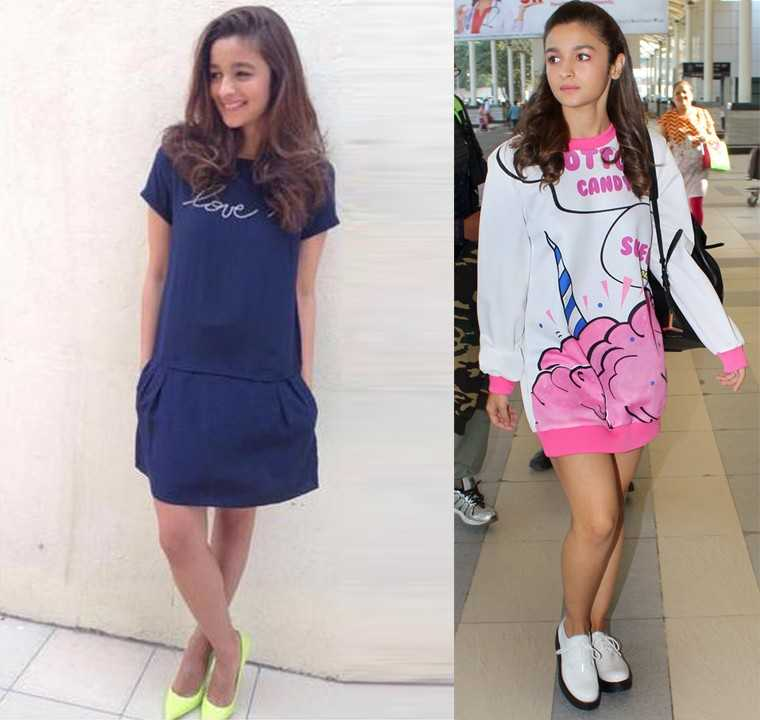 MINI:  From acing travel style with her 'sweet cotton candy' sweatshirt dress to rocking her Zadig and Voltaire drop waist number with neon pumps from Aldo, Alia Bhatt's definitely got her mini game on point.