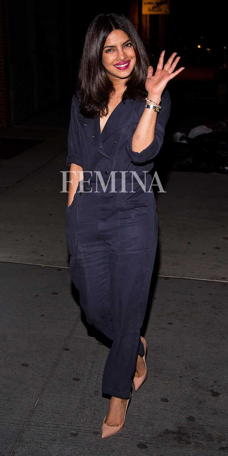 Priyanka Chopra – Priyanka Chopra's shoe game was on point when the actor stepped out in a navy jumpsuit, completing her look with a pair of pointed nude pumps and pink lips.